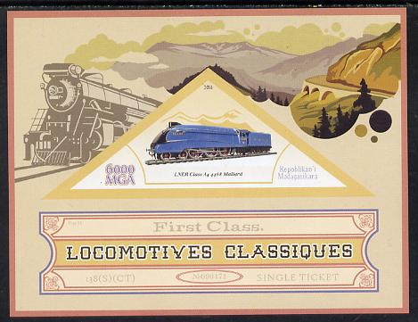 Madagascar 2014 Classic Locomotives - LNER A4 Pacific imperf s/sheet containing one triangular-shaped value unmounted mint