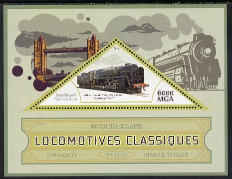 Madagascar 2014 Classic Locomotives - BR 9F Evening Star perf s/sheet containing one triangular-shaped value unmounted mint