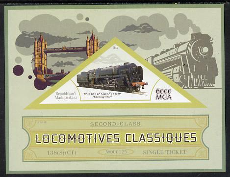 Madagascar 2014 Classic Locomotives - BR 9F Evening Star imperf s/sheet containing one triangular-shaped value unmounted mint