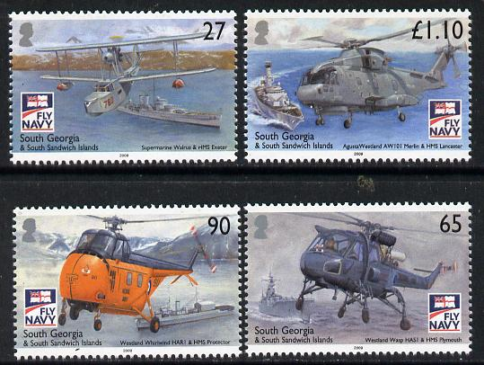South Georgia & the South Sandwich Islands 2009 Centenary of Naval Aviationperf set of 4 unmounted mint SG 463-66