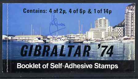Booklet - Gibraltar 1974 Centenary of UPU 46p self-adhesive booklet, front cover signed by A Ryman (the designer) SG SB3