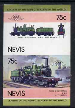 Nevis 1985 Locomotives #4 (Leaders of the World) Nord L'outrance 75c se-tenant proof pair as issued but imperforate (as SG 303a) unmounted mint