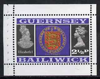 Booklet - Guernsey 1973 Arms & Elizabeth I 2.5p Booklet Pane (stamp with margins all round) SG 48ba