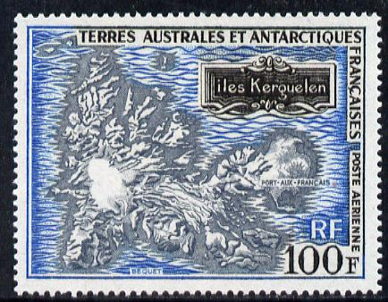 French Southern & Antarctic Territories 1969 Map 100f unmounted mint SG 55