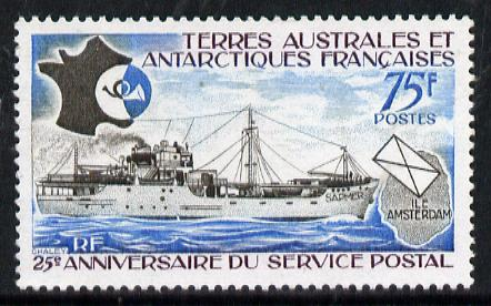 French Southern & Antarctic Territories 1974 25th Anniversary of Postal Service 75f unmounted mint SG 95