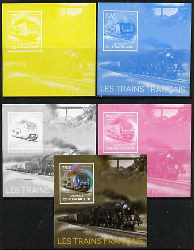 Central African Republic 2014 Trains of France #1 deluxe sheetlet - the set of 5 imperf progressive proofs comprising the 4 individual colours plus all 4-colour composite...