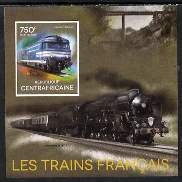 Central African Republic 2014 Trains of France #2 imperf deluxe sheetlet unmounted mint. Note this item is privately produced and is offered purely on its thematic appeal