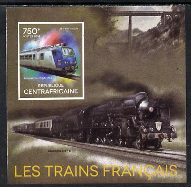 Central African Republic 2014 Trains of France #3 imperf deluxe sheetlet unmounted mint. Note this item is privately produced and is offered purely on its thematic appeal