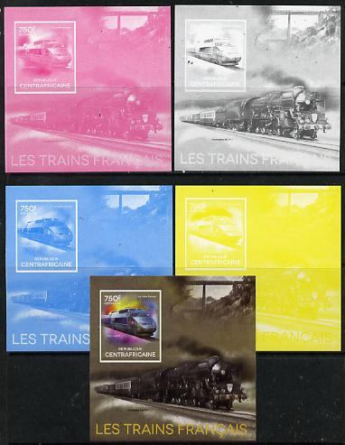Central African Republic 2014 Trains of France #4 deluxe sheetlet - the set of 5 imperf progressive proofs comprising the 4 individual colours plus all 4-colour composite...
