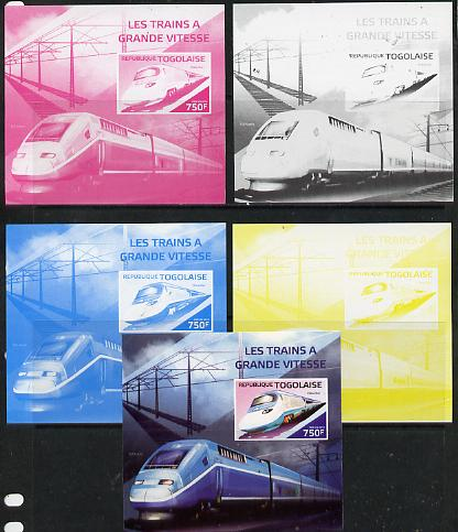 Togo 2014 High-Speed Trains #1 deluxe sheetlet - the set of 5 imperf progressive proofs comprising the 4 individual colours plus all 4-colour composite, unmounted mint