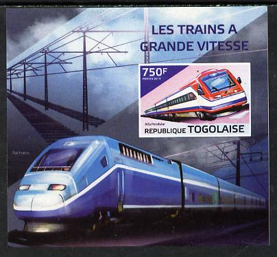 Togo 2014 High-Speed Trains #2 imperf deluxe sheetlet unmounted mint. Note this item is privately produced and is offered purely on its thematic appeal, stamps on railways