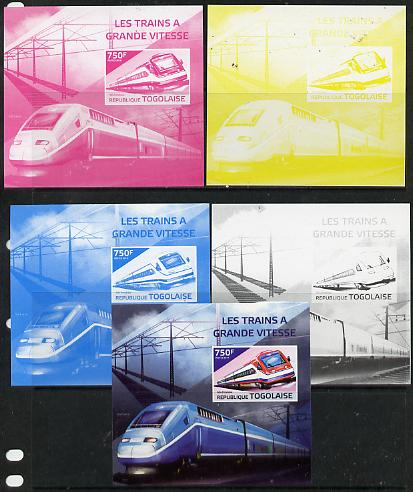 Togo 2014 High-Speed Trains #2 deluxe sheetlet - the set of 5 imperf progressive proofs comprising the 4 individual colours plus all 4-colour composite, unmounted mint