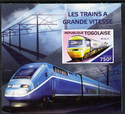Togo 2014 High-Speed Trains #3 imperf deluxe sheetlet unmounted mint. Note this item is privately produced and is offered purely on its thematic appeal