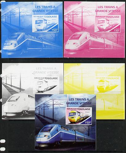 Togo 2014 High-Speed Trains #3 deluxe sheetlet - the set of 5 imperf progressive proofs comprising the 4 individual colours plus all 4-colour composite, unmounted mint