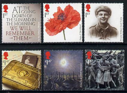 Great Britain 2014 Centenary of the Great War 1914-18 perf set of 6 unmounted mint