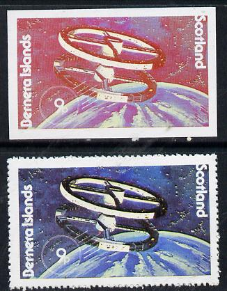 Bernera 1978 Spacecraft 9p imperf single with black omitted plus perf normal unmounted mint