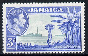 Jamaica 1938-52 KG6 Bananas 3d greenish-blue & ultramarine unmounted mint, SG 126b, stamps on , stamps on  kg6 , stamps on bananas