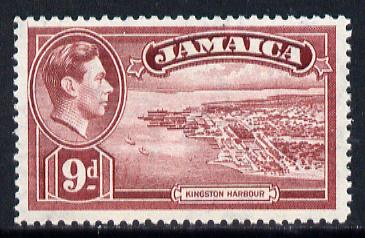 Jamaica 1938-52 KG6 Kingston Harbour 9d lake unmounted mint, SG 129