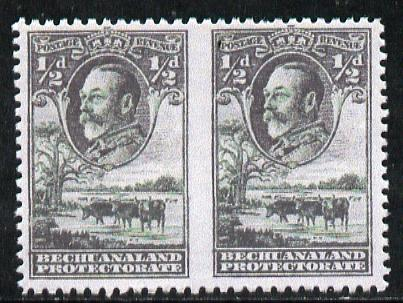 Bechuanaland 1932 KG5 Cattle 1/2d green horizontal pair imperf between,