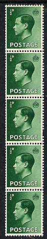 Great Britain 1936 KE8 1/2d green vertical coil strip of 5 unmounted mint