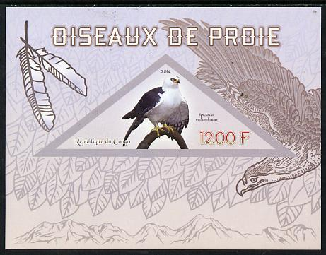 Congo 2014 Birds of Prey imperf s/sheet containing one triangular-shaped value unmounted mint , stamps on shaped, stamps on triangular, stamps on birds.birds of prey