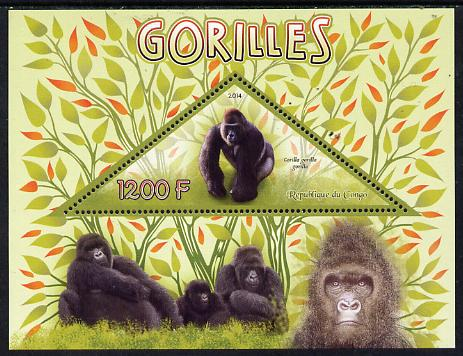 Congo 2014 Gorillals perf s/sheet containing one triangular-shaped value unmounted mint