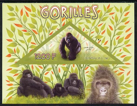 Congo 2014 Gorillals imperf s/sheet containing one triangular-shaped value unmounted mint