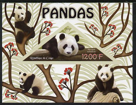 Congo 2014 Pandas imperf s/sheet containing one triangular-shaped value unmounted mint