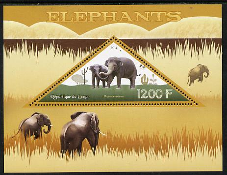 Congo 2014 Elephants perf s/sheet containing one triangular-shaped value unmounted mint , stamps on shaped, stamps on triangular, stamps on animals, stamps on elephants