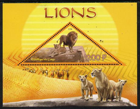 Congo 2014 Lions perf s/sheet containing one triangular-shaped value unmounted mint