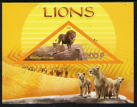 Congo 2014 Lions imperf s/sheet containing one triangular-shaped value unmounted mint