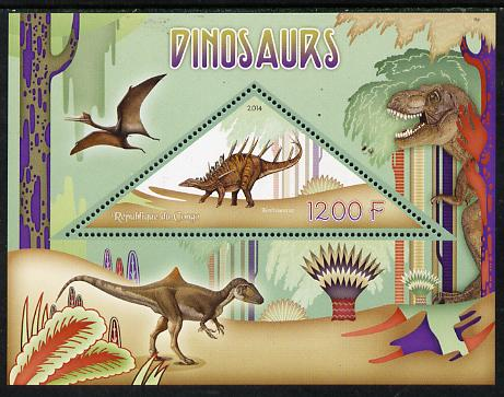 Congo 2014 Dinosaurs perf s/sheet containing one triangular-shaped value unmounted mint