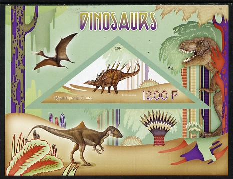 Congo 2014 Dinosaurs imperf s/sheet containing one triangular-shaped value unmounted mint