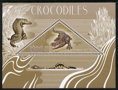 Congo 2014 Crocodiles perf s/sheet containing one triangular-shaped value unmounted mint