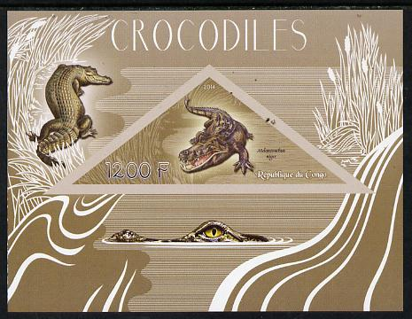 Congo 2014 Crocodiles imperf s/sheet containing one triangular-shaped value unmounted mint