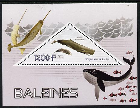 Congo 2014 Whales perf s/sheet containing one triangular-shaped value unmounted mint