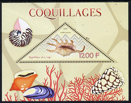 Congo 2014 Shells perf s/sheet containing one triangular-shaped value unmounted mint