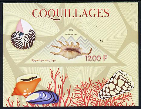 Congo 2014 Shells imperf s/sheet containing one triangular-shaped value unmounted mint