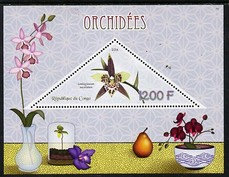 Congo 2014 Orchids perf s/sheet containing one triangular-shaped value unmounted mint