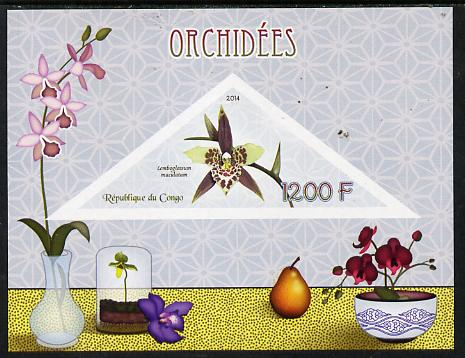 Congo 2014 Orchids imperf s/sheet containing one triangular-shaped value unmounted mint