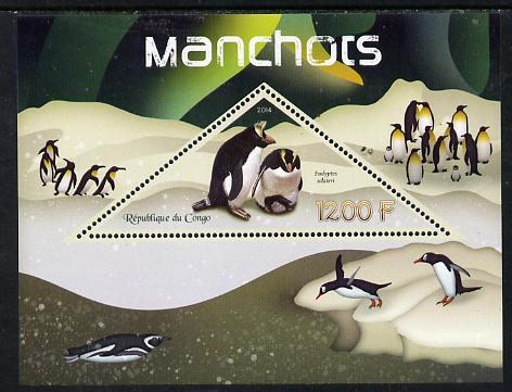 Congo 2014 Penguins perf s/sheet containing one triangular-shaped value unmounted mint