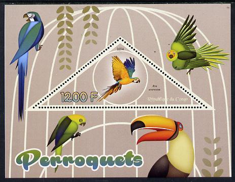 Congo 2014 Parrots perf s/sheet containing one triangular-shaped value unmounted mint