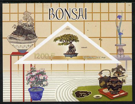 Congo 2014 Bonsai imperf s/sheet containing one triangular-shaped value unmounted mint