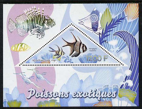 Congo 2014 Fish perf s/sheet containing one triangular-shaped value unmounted mint
