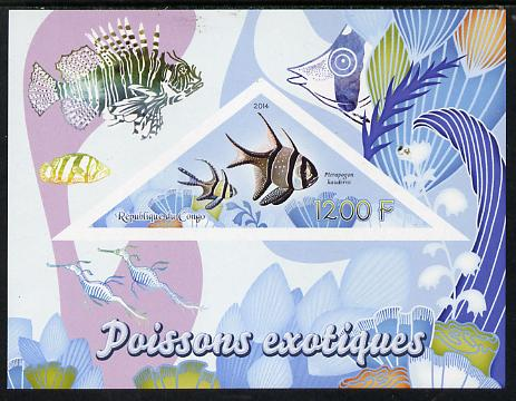 Congo 2014 Fish imperf s/sheet containing one triangular-shaped value unmounted mint