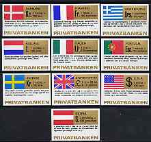 Match Box Labels - complete set of 10 National Flags & Currencies, superb unused condition (Danish)