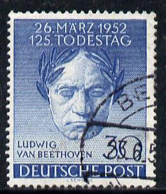 Germany - West Berlin 1952 125th Death Anniversary of Beethoven 30pf cds used, SG B87