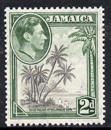 Jamaica 1938-52 KG6 Coco Palms 2d perf 13 x 13.5 unmounted mint, SG 124c