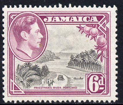Jamaica 1938-52 KG6 Priestman's River 6d perf 13,.5 x 13.unmounted mint, SG 128a