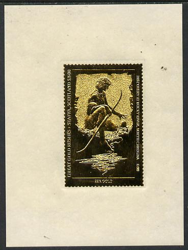Staffa 1981 Great gold Rushes \A38 Discovery at Rock River embossed in 24k gold foil self-adhesive proof unmounted mint Rosen SF 1009